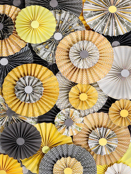 Daffodil Pinwheel Fans Yellow Backdrop Printed Photography Background / 2437 - DropPlace