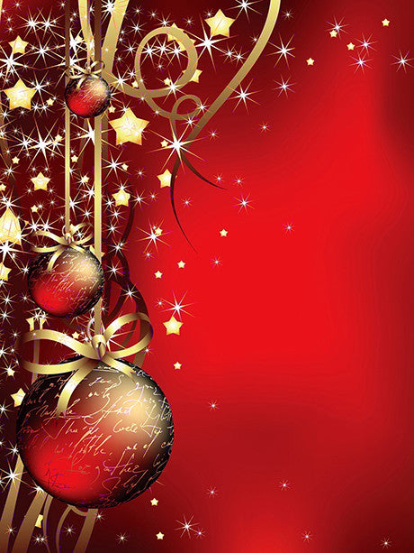 Red Bauble Printed Photography Backdrop / 281