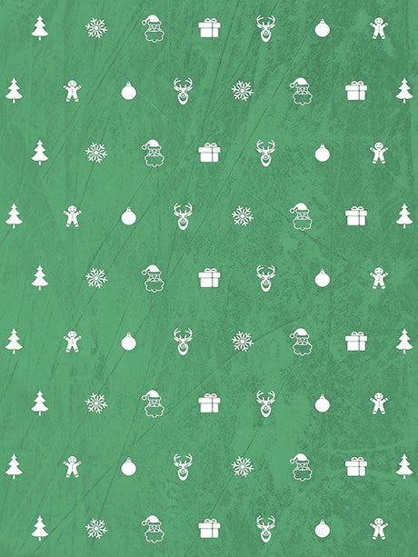 Ornaments in Green Photo Backdrop / 3123