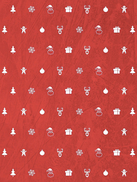 Ornaments in Red Printed Photography Backdrop / 3124