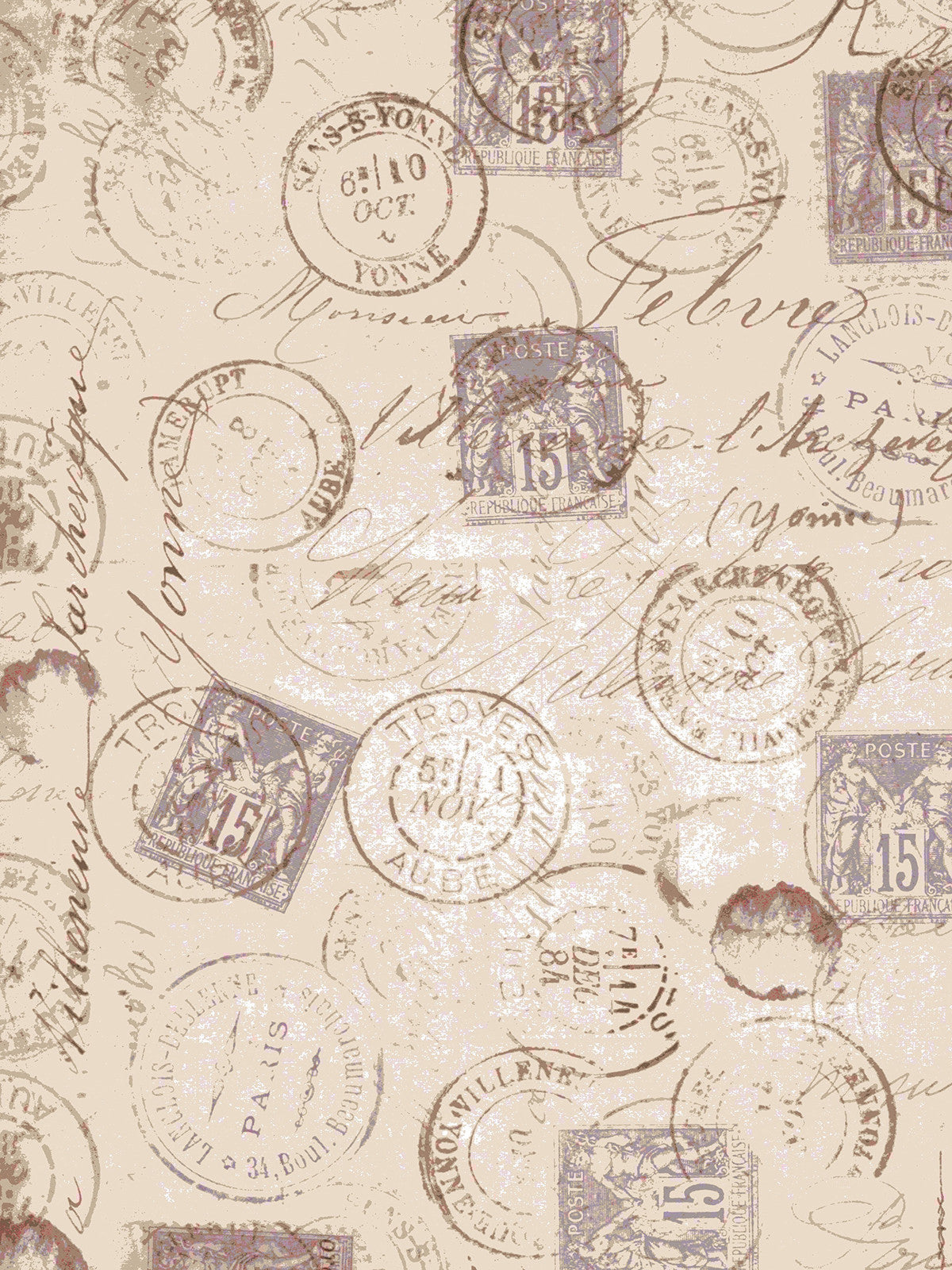 Vintage Stamps Photography Backdrop / 7375 - DropPlace