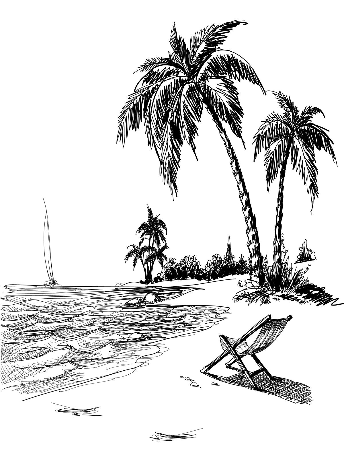Beach Line Art Printed Photo Background 7407 Dropplace