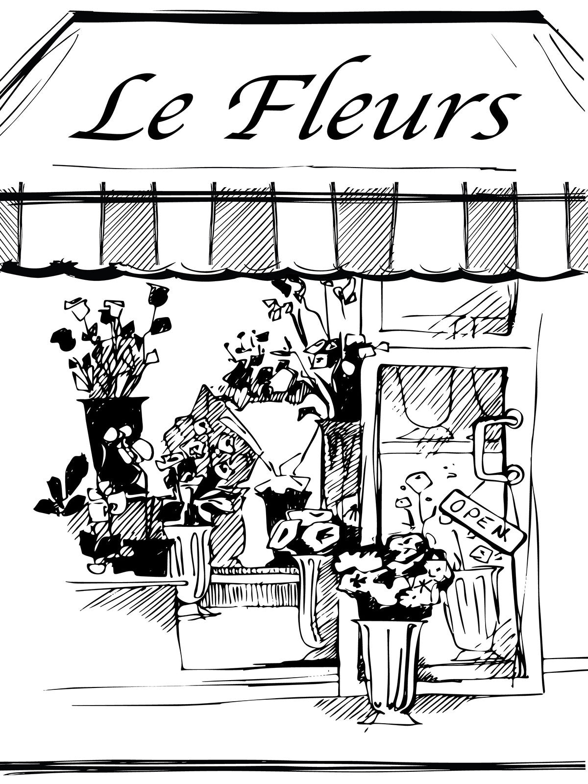 Flower Shop Line Art Photography Backdrop / 7411