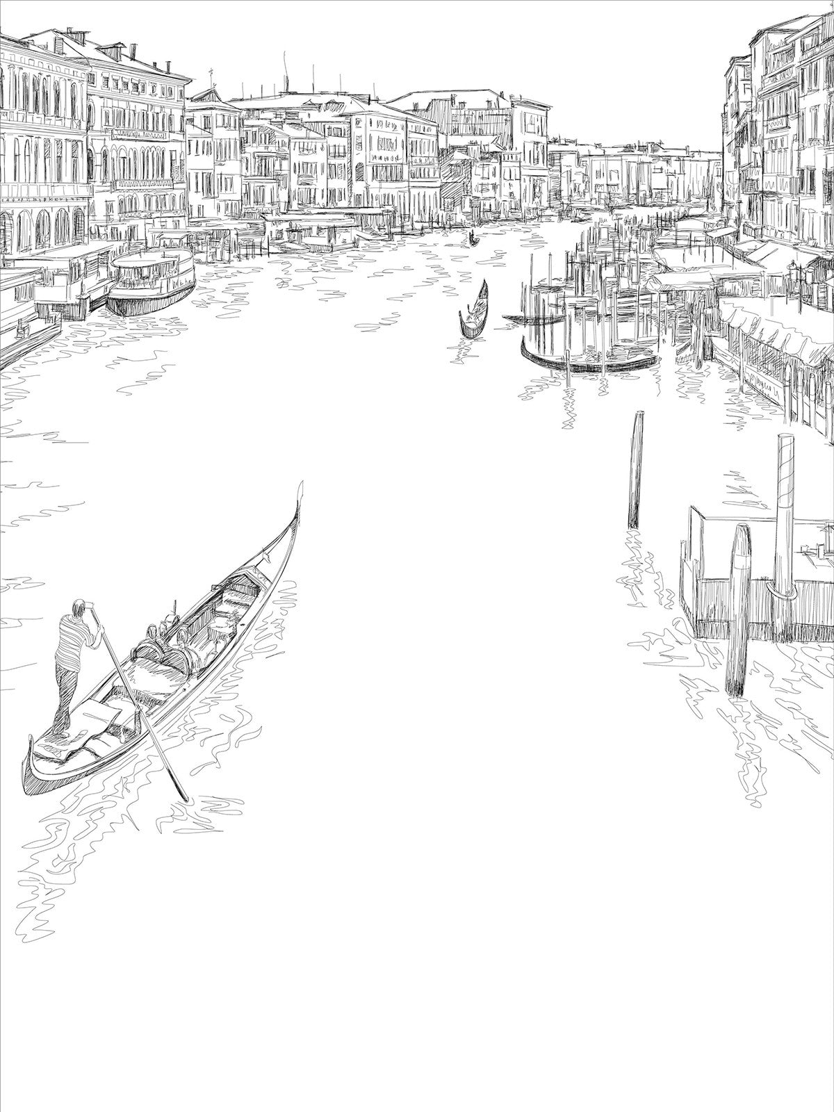 Venice Line Art Printed Photo Backdrop / 7418 - DropPlace