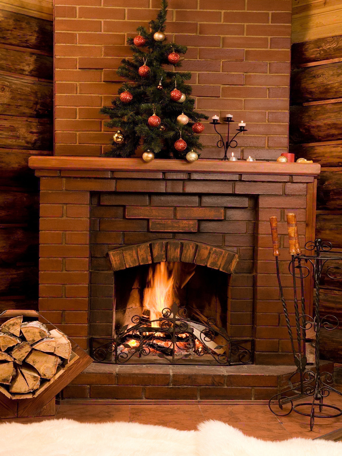 Snuggle by the Fire Photo Background / 7969 - DropPlace