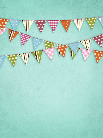 Teal Flags Photo Background / 9088 - DropPlace
