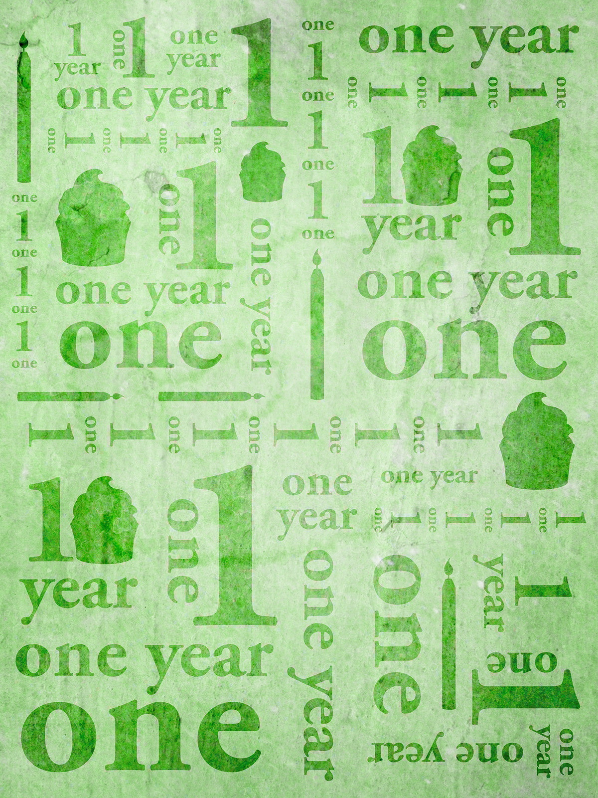 First Birthday Green Photo Background / 9143