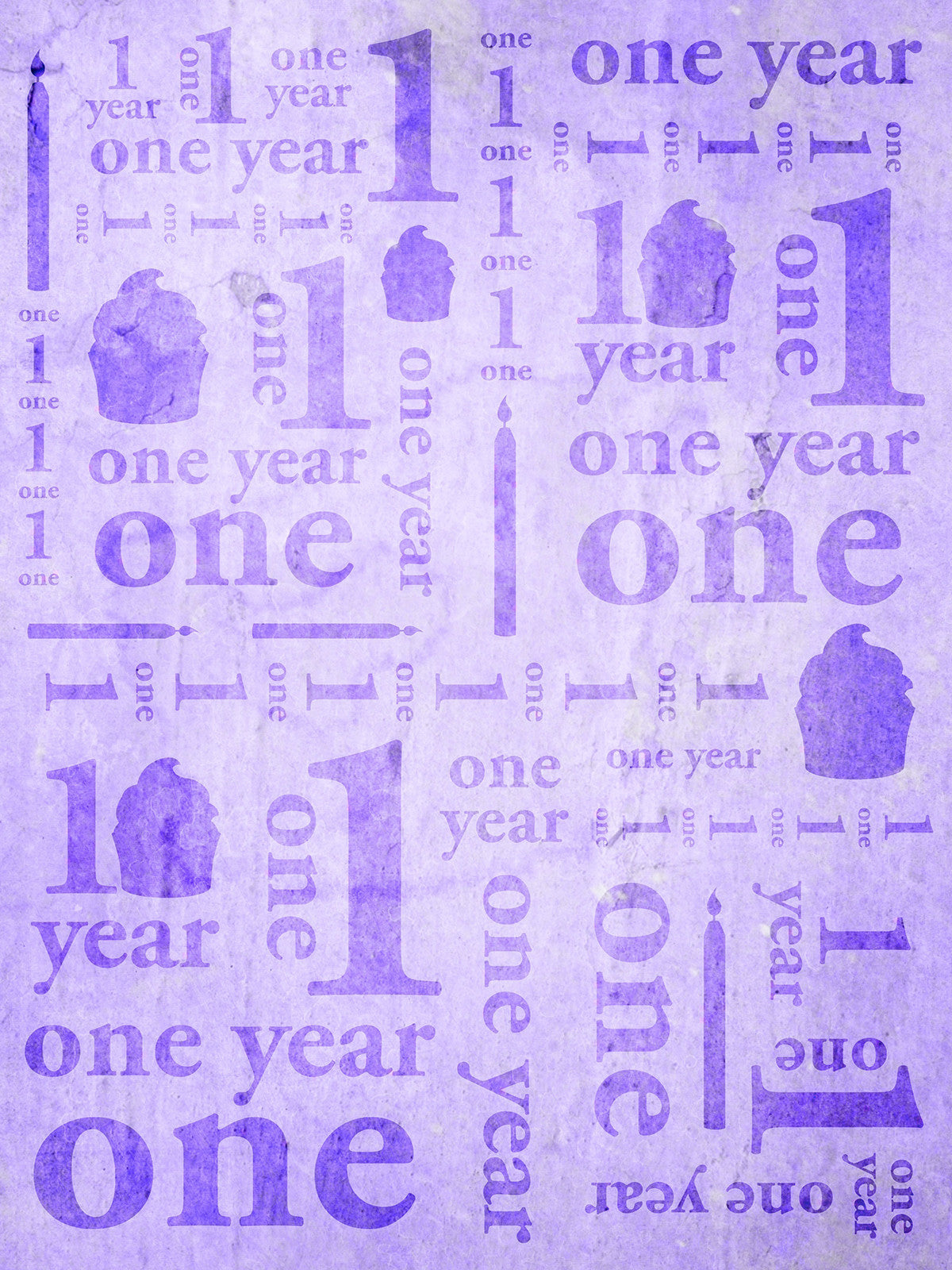First Birthday Purple Printed Photo Backdrop / 9145