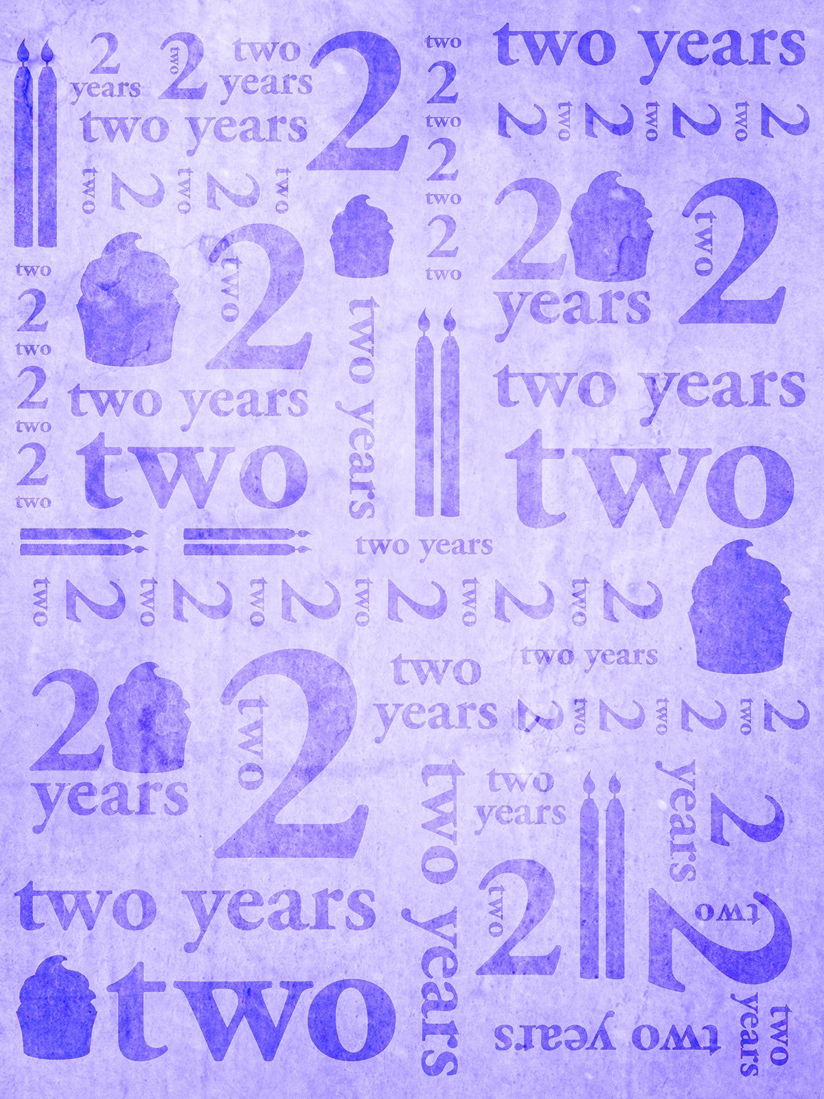 Second Birthday Purple Printed Photography Background / 9152