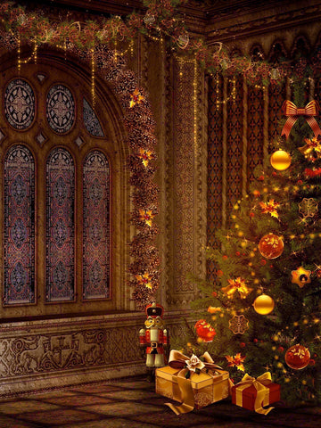 Ancient Christmas Victorian Tree Photo Backdrop Photography Backdrop / 9310 - DropPlace