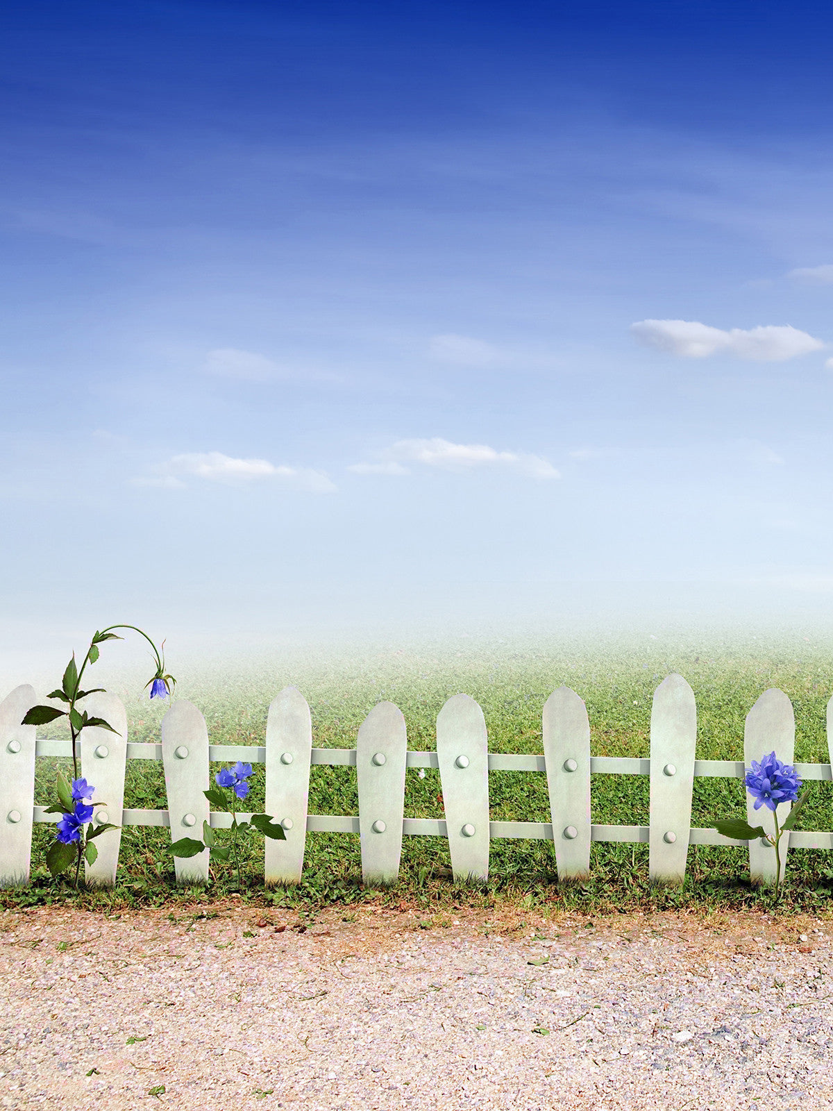 White Picket Fence Printed Photography Background / 9357