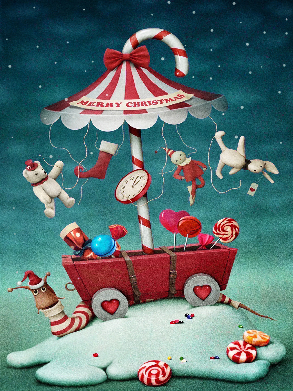 Santa Snail is Coming to Town Printed Photo Backdrop / 9433 - DropPlace