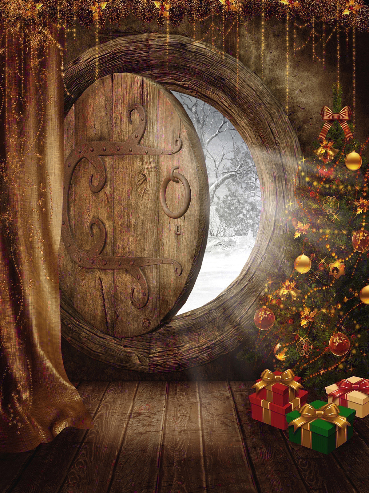 Hobbit Holiday Photo Backdrop / 9440 - DropPlace