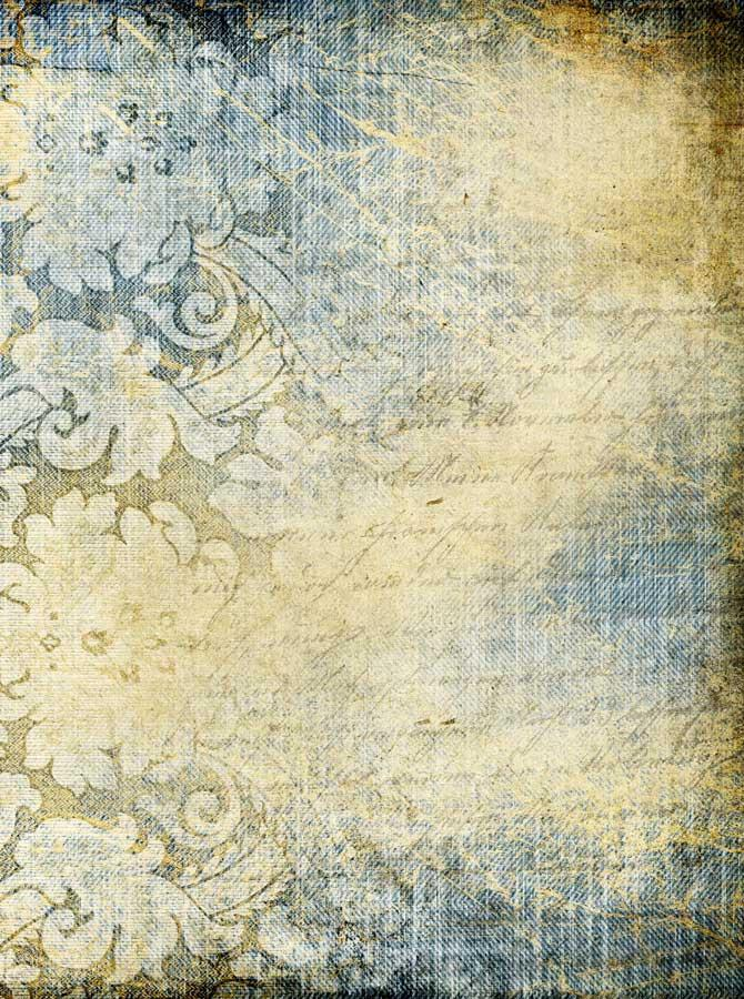 Printed Blue and Cream Floral Backdrop - 1273 - DropPlace