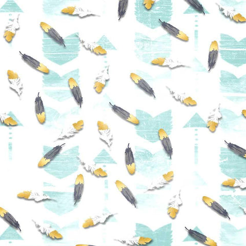 Printed Teal Crazy Feather Backdrop BOHO BRAVE- 1469 - DropPlace