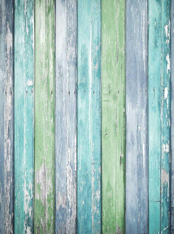 Green Teal Blue Wood Backdrop - 2227