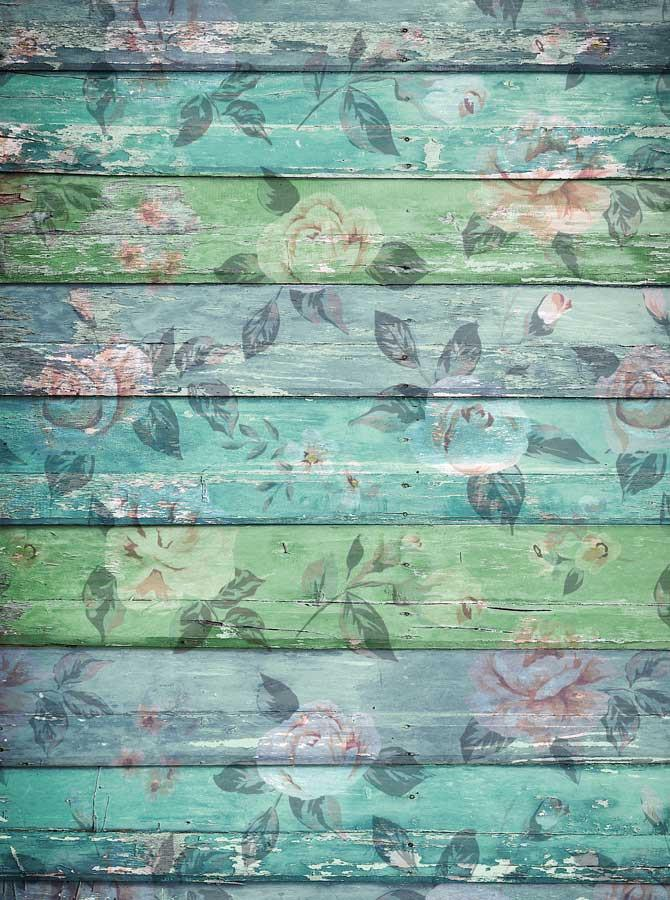 Green Teal Floral Wood Backdrop - 2228