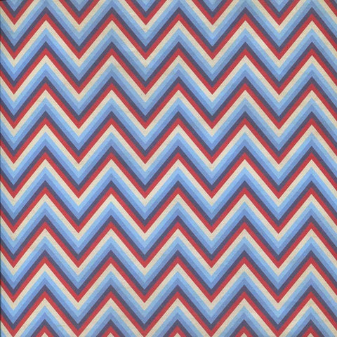 Printed Red Blue White Chevron Stripes Backdrop - 2324 - DropPlace