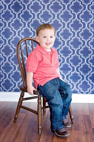 Moroccan Pattern Blue Backdrop - 2622 - DropPlace
