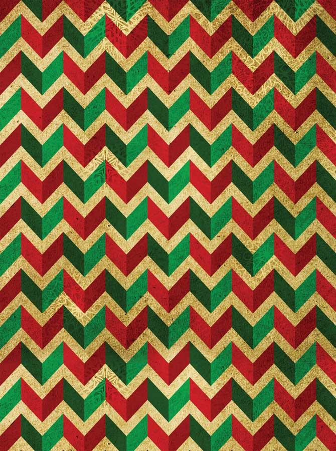Green Red Chevron Pattern Printed Background With 3D Look - 4649 - DropPlace