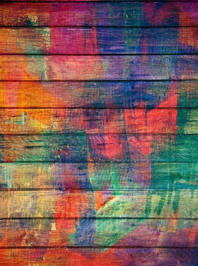Printed Wood Rainbow Backdrop - 497 - DropPlace