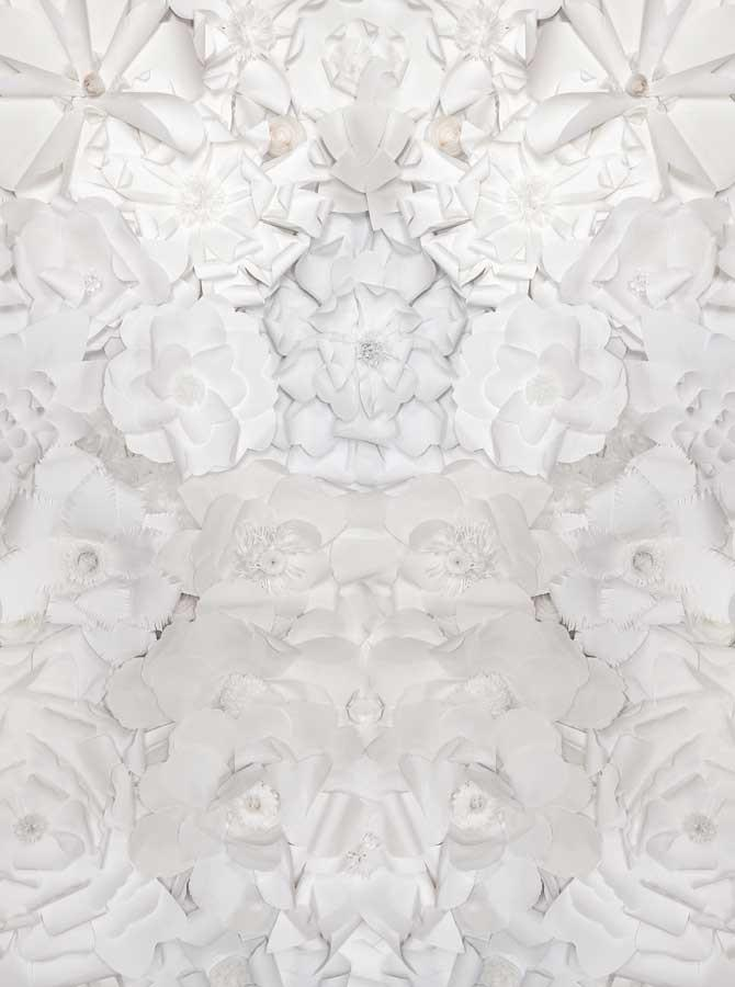White Paper Flowers Pattern Background - 6101 - DropPlace
