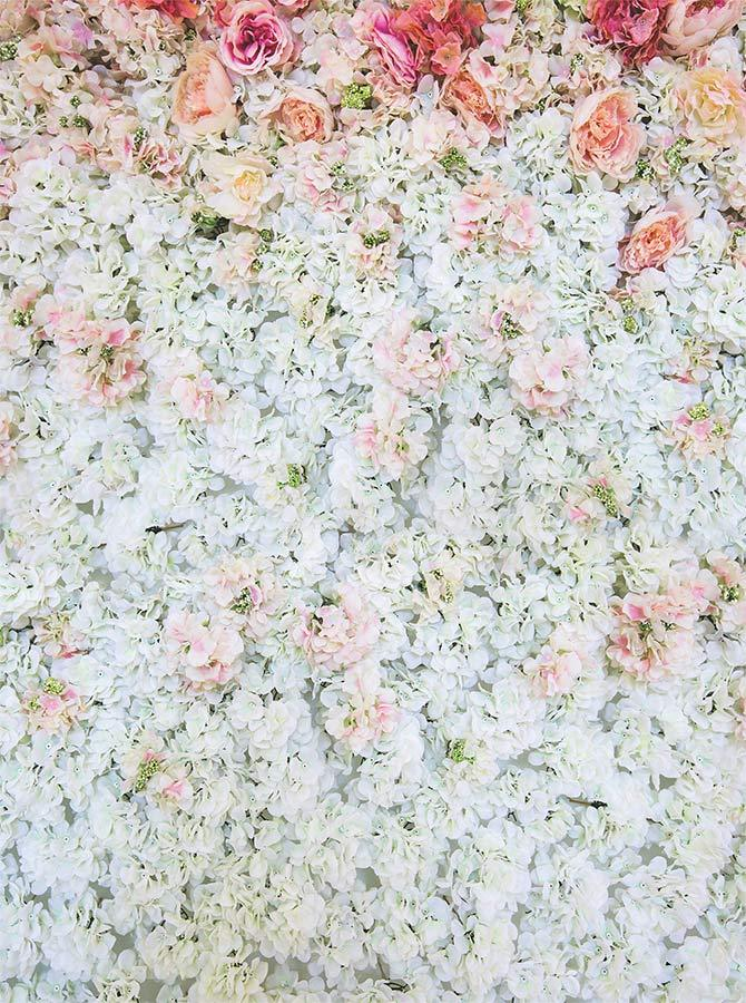 Printed White Flower Wall Bunched Floral Rose Photo Backdrop - 6105