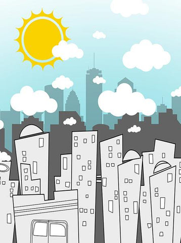 Comic Cartoon City Photo Background / 6857 - DropPlace