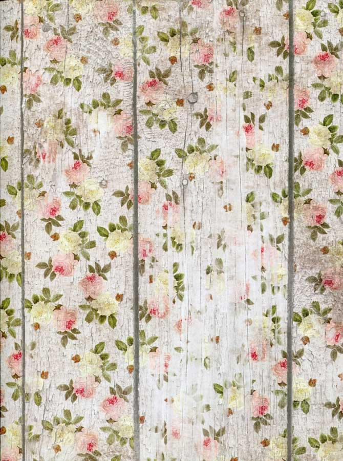 Printed Flower Wood Photography Backdrop - 7195