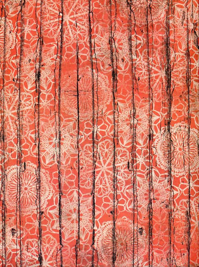 Floral Orange Wood Pattern Backdrop - 7207 - DropPlace
