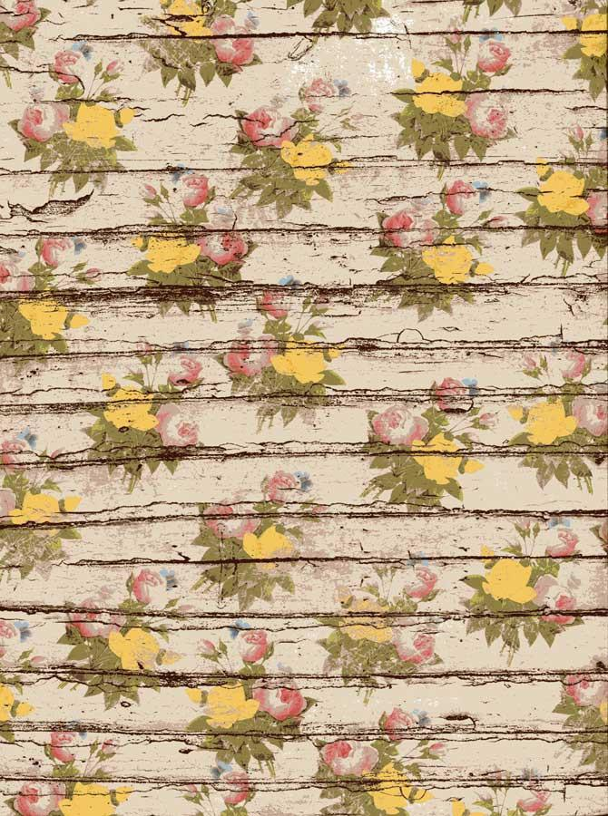 Blooming Flowers Wood Backdrop - 7214 - DropPlace