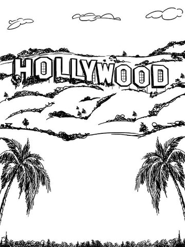 Hollywood Line Art Printed Photo Backdrop / 7412 - DropPlace