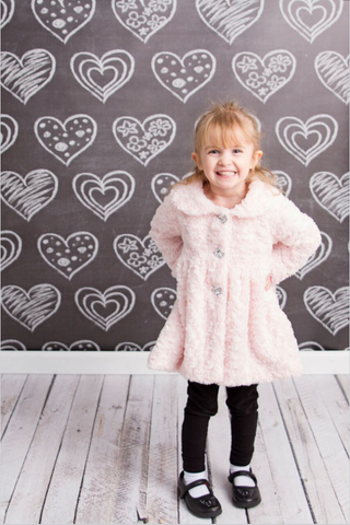 Chalkboard Hearts Backdrop Photography Background / 2370 - DropPlace
