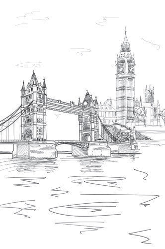 London Line Art Printed Photo Background / 7413