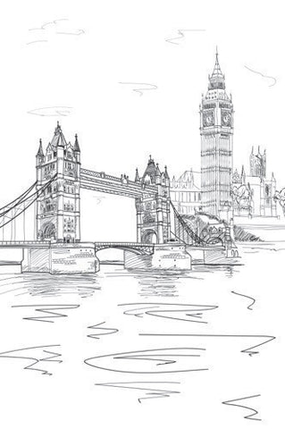 London Line Art Printed Photo Background / 7413 - DropPlace
