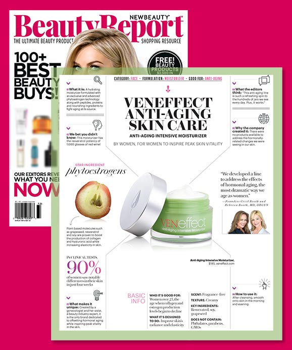 Beauty Report reviews & recommends VENeffect Skin Care with phytoestrogens as best to address declining estrogen affect on the skin.