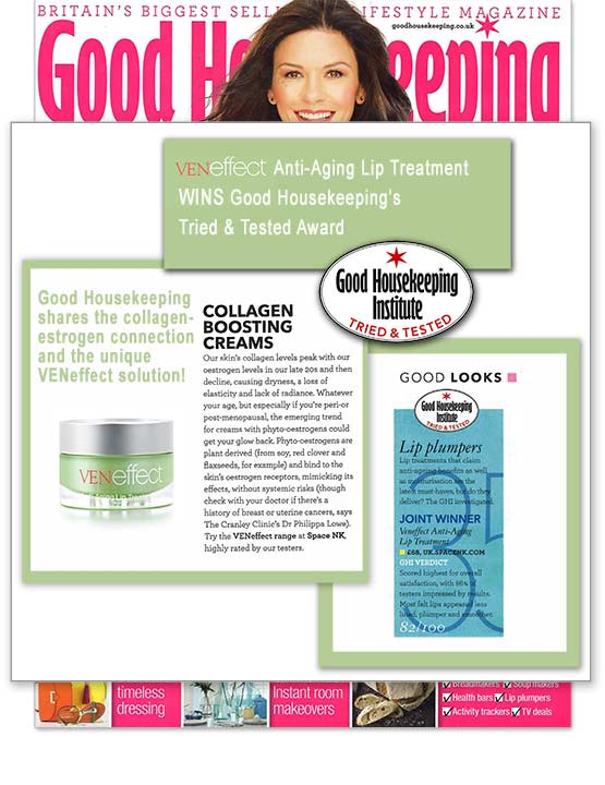 VENeffect Anti-Aging Lip Treatment wins Good Housekeeping Beauty Award. Product testers review and recommend VENeffect.