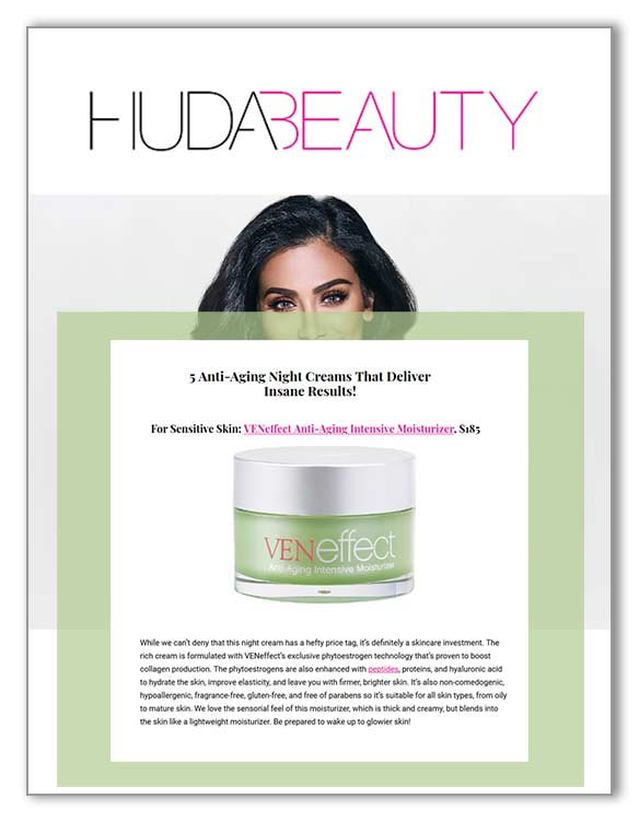 Huda Beauty reviews VENeffect Skin Care with phytoestrogens