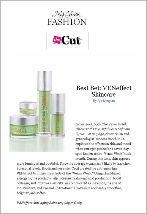 """New York Magazine recommends VENeffect Anti-Aging Skincare  - a """"Best Bet"""""""