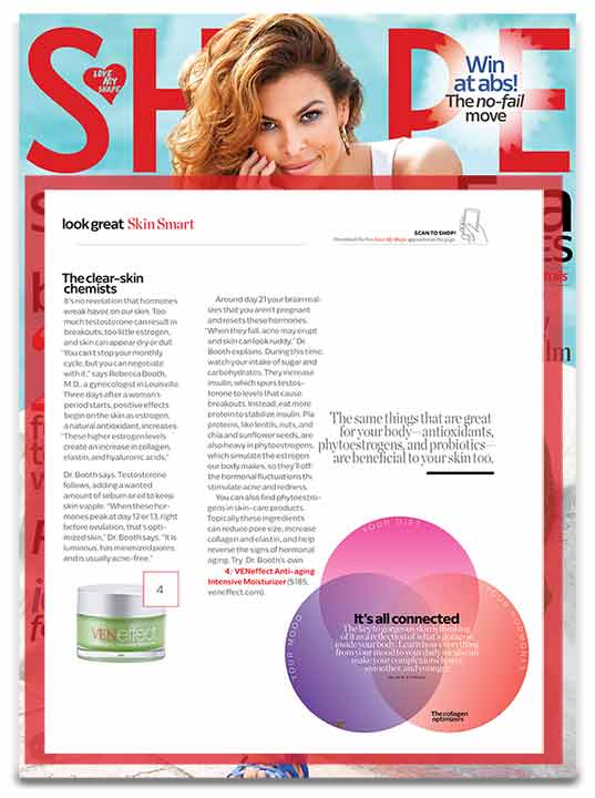 Shape Magazine: Hormones affect our skin. Plant based phytoestrogens  in skin care products help reverse signs of hormonal aging.