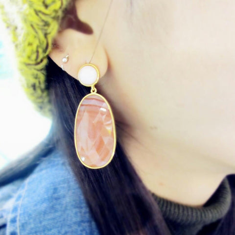 Opal Post Agate Earring