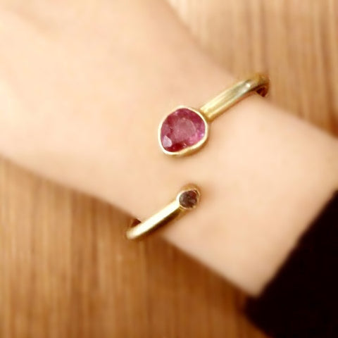 Pink Tourmaline and Diamond Cuff