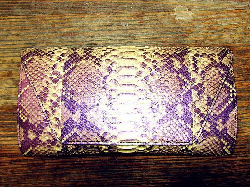 Snake Skin Clutch-Purple