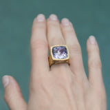 Amethyst Square  Hammered Band Adjustable Ring