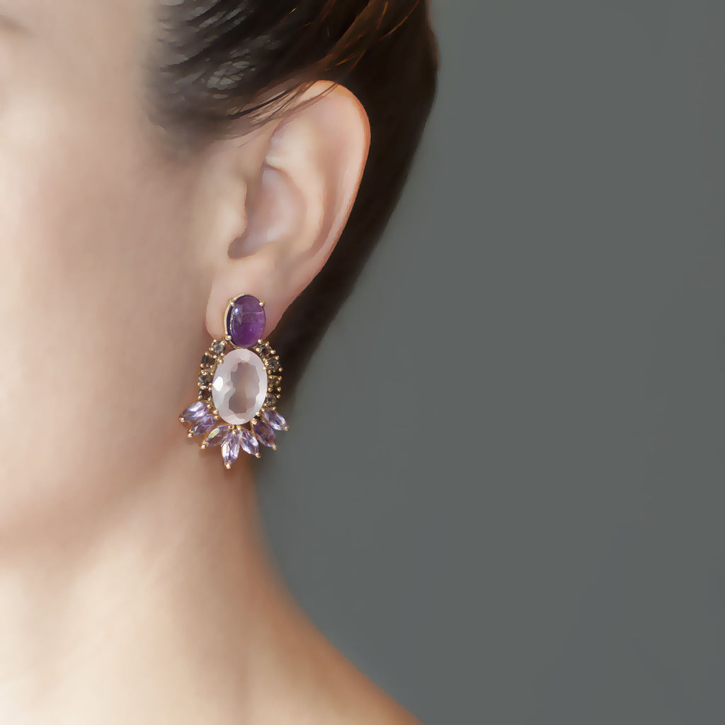 Amethyst Rose Quartz Smoky Quartz Earring