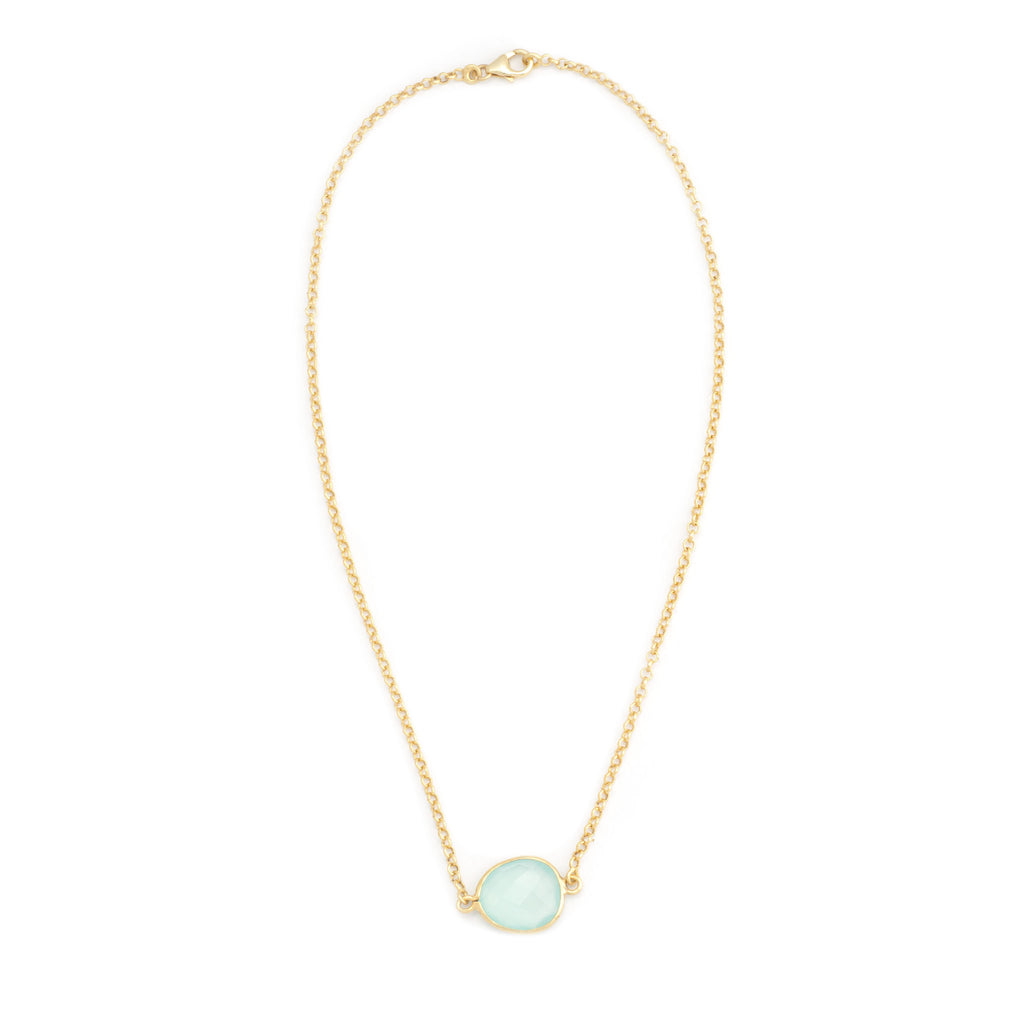 Aqua Chalcedony Chain Necklace