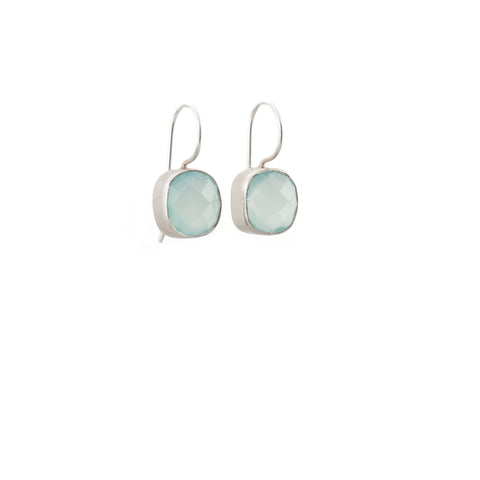 Aqua Chalcedony Cushion Hook Matte 925 Silver Earring
