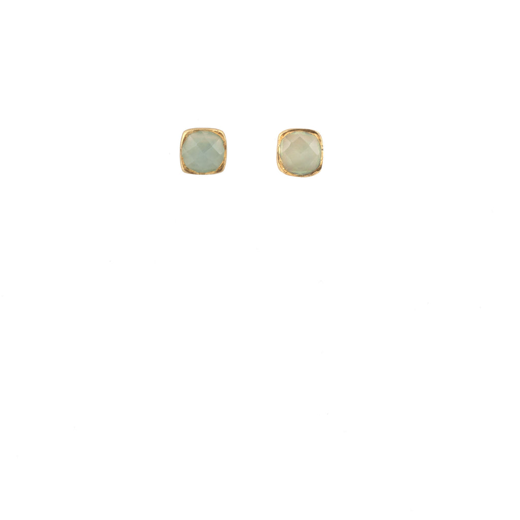 Aqua Chalcedony Square Stud Earrings