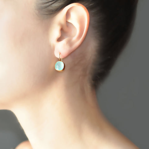 Aqua Chalcedony Cushion Cut Hook Earrings
