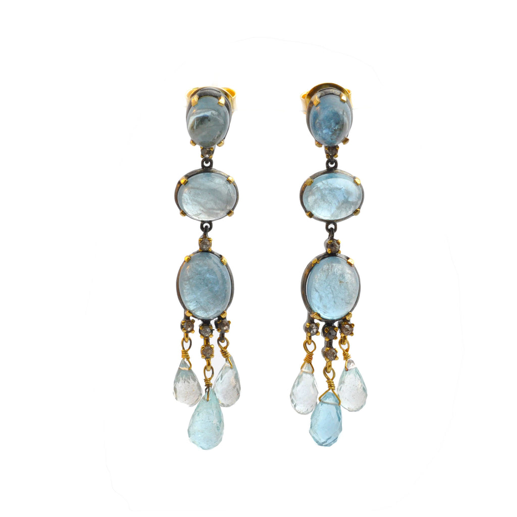 Aquamarine Black Diamond Chandelier Earrings